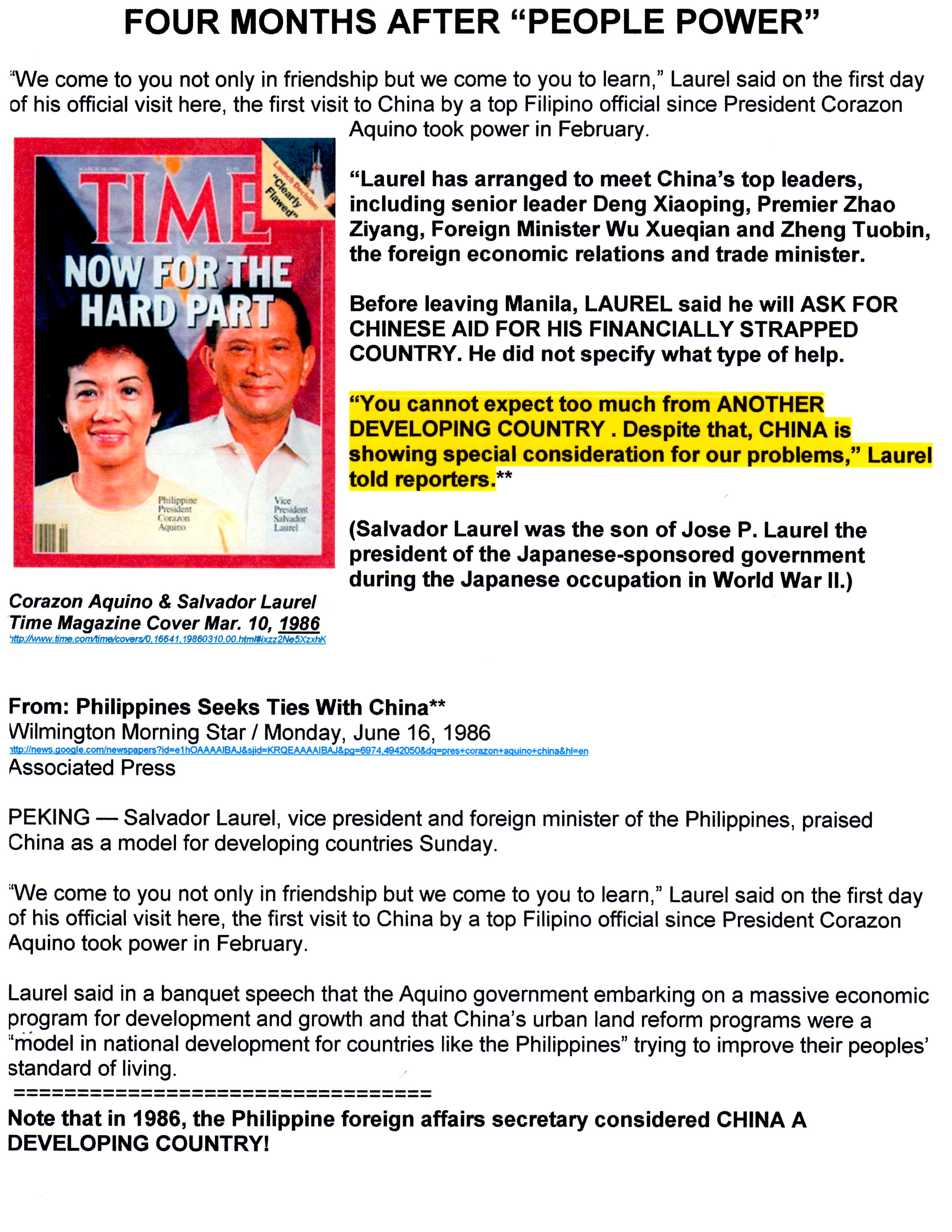Blog Aquino-Laurel Seeks Ties with China 06-16-86