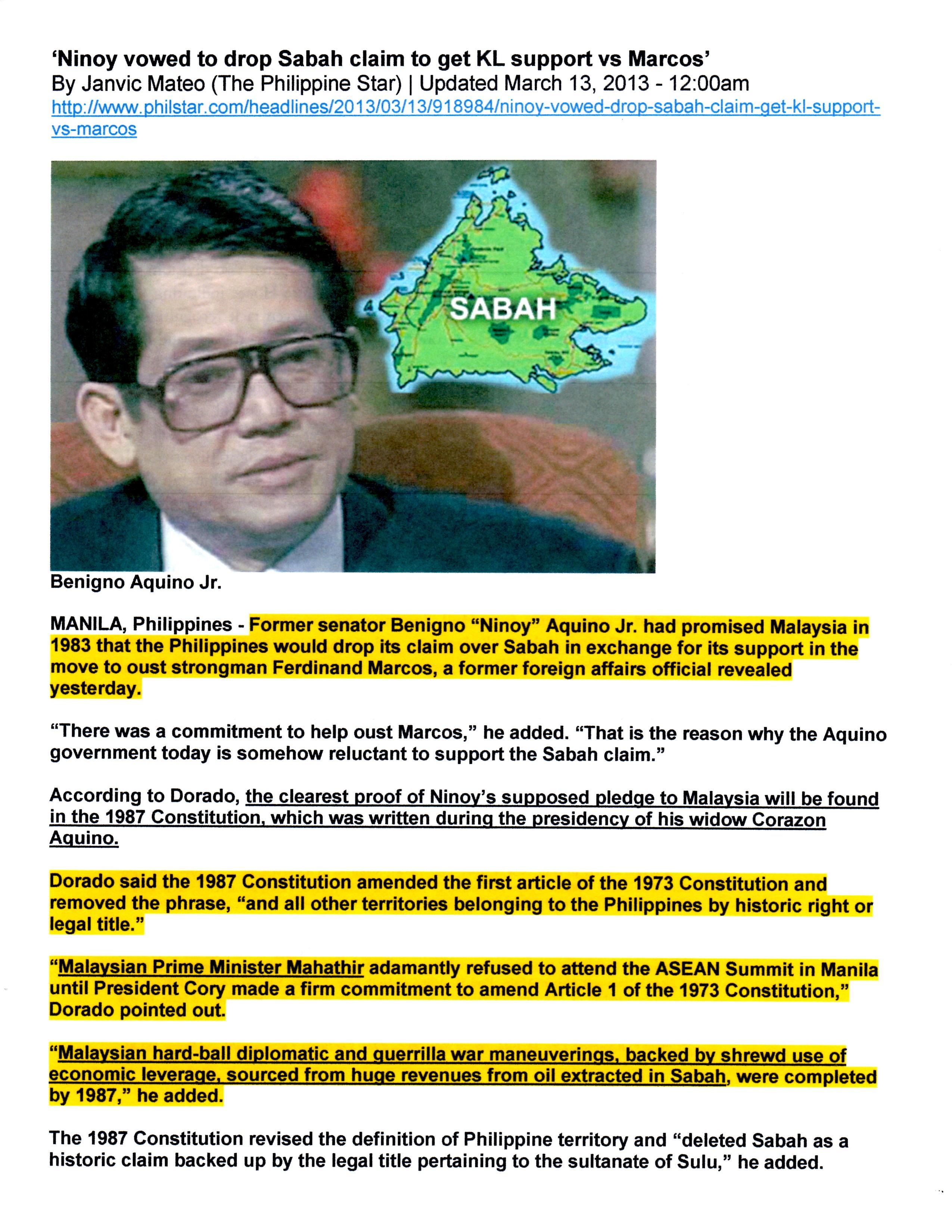Ninoy Aquino II Betrays Sultan of Sulu
