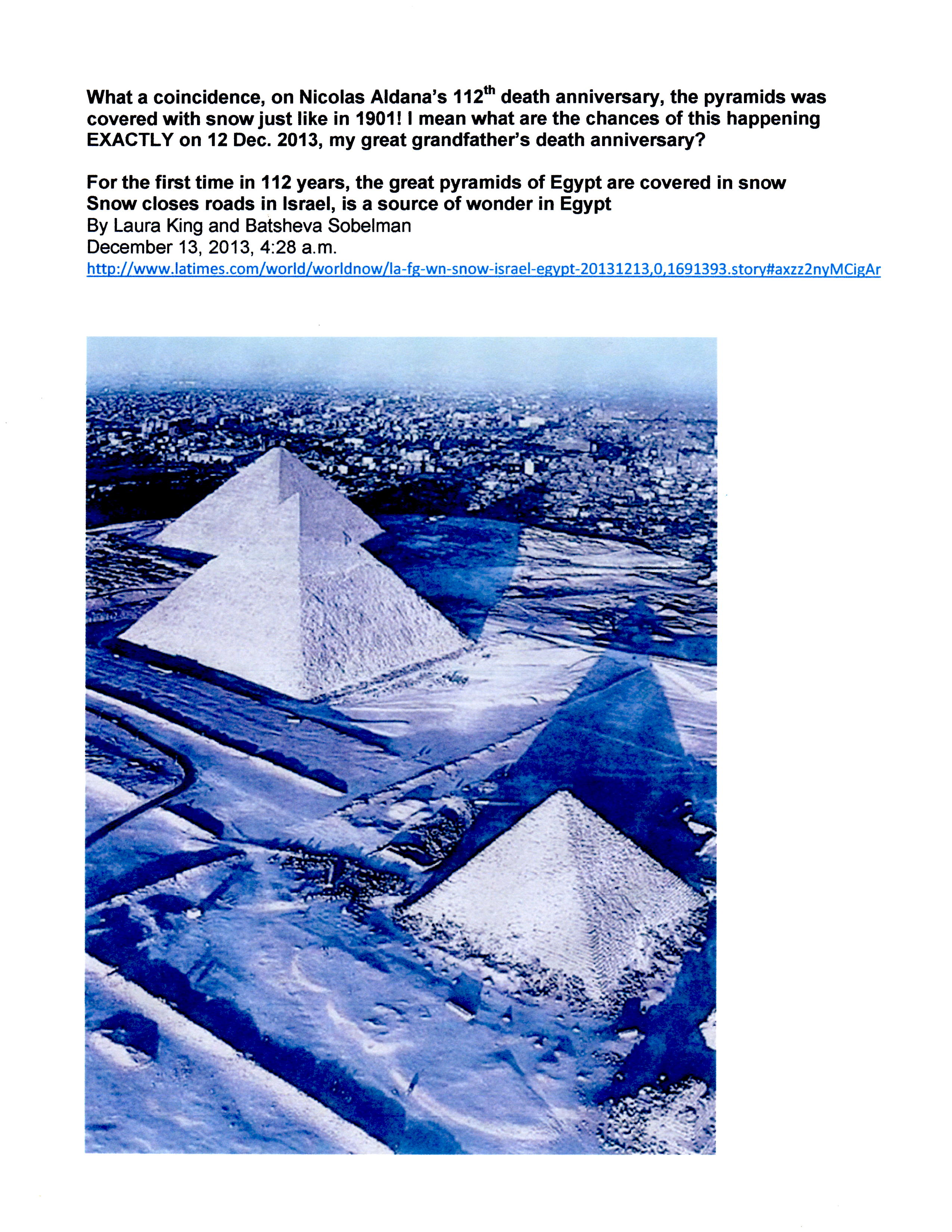 Blog - 1st time in 112 yrs. snow covers the great pyramids of Egypt 12-12-13