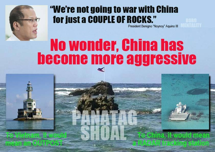 Aquino III - No war with China for just a couple of rocks.