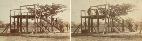 American soldiers hang two Filipinos. (LEFT) The prisoners are forced up on the scaffold at gunpoint; (RIGHT) The nooses are adjusted and the Filipinos' hands are tied behind their backs.  Undated photo, location not specified.