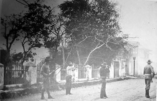Manila burns:  US soldiers firing at Filipinos, Feb. 23, 1899