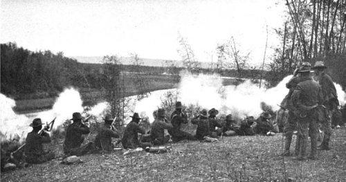 Philippine War 1899-1902 - Skirmish line of 1st Washington Volunteers at Pasig Mar. 1899