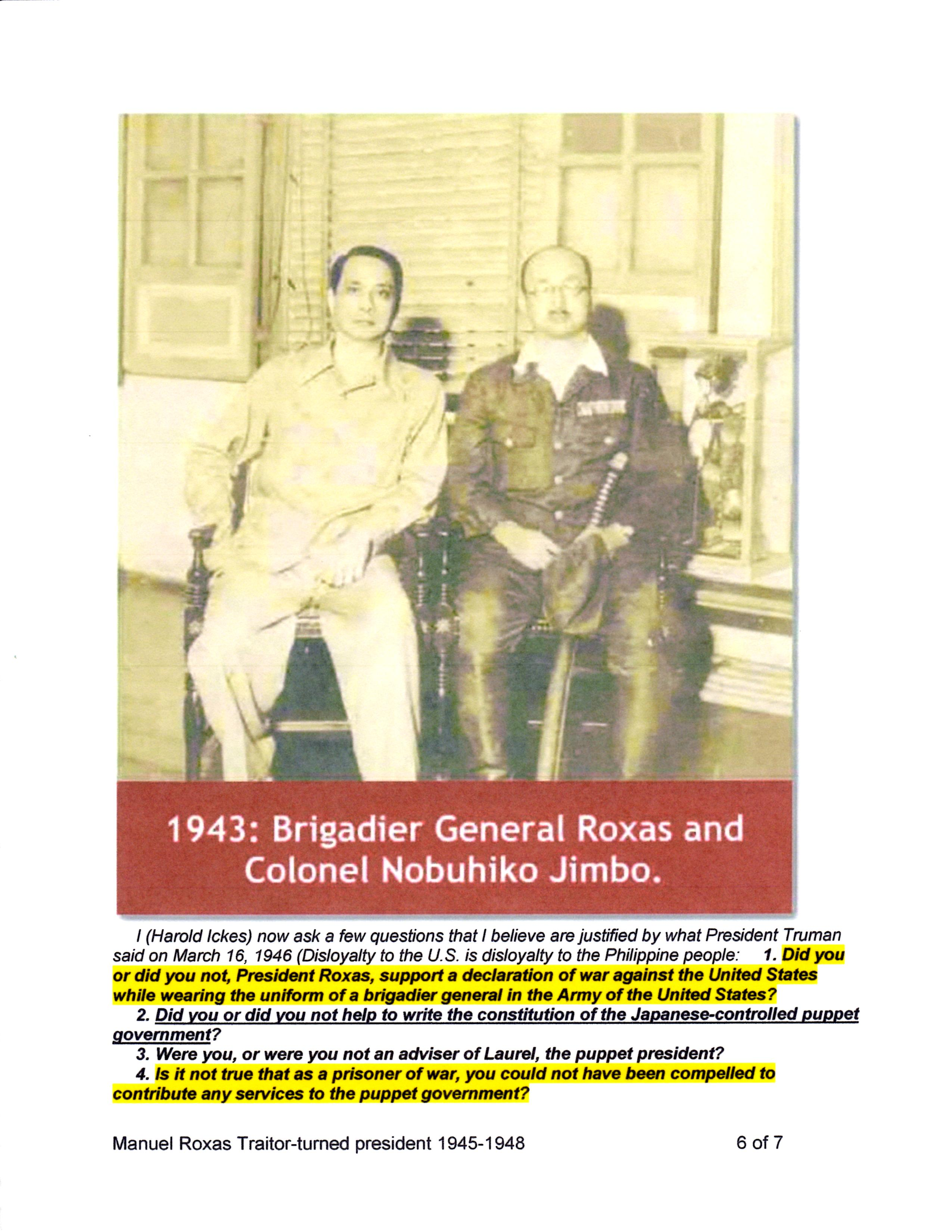 Oligarch-Traitor Exposed - It was US Sec. of Interior Harold Ickes who questioned Manuel Roxas' war record in an editorial published on July 22, 1946.