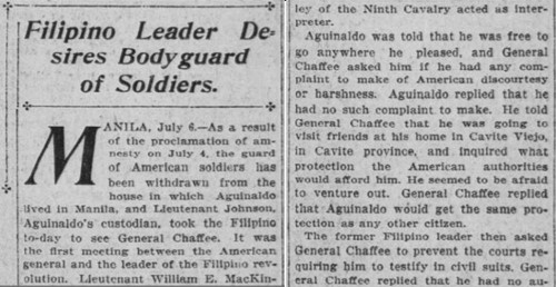 Aguinaldo seek bodyguards of soldiers 07-22-1902
