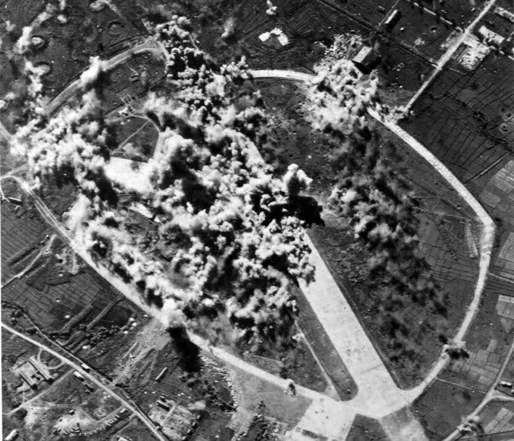 American B-24's Liberator bombing Nielsen Field 1945