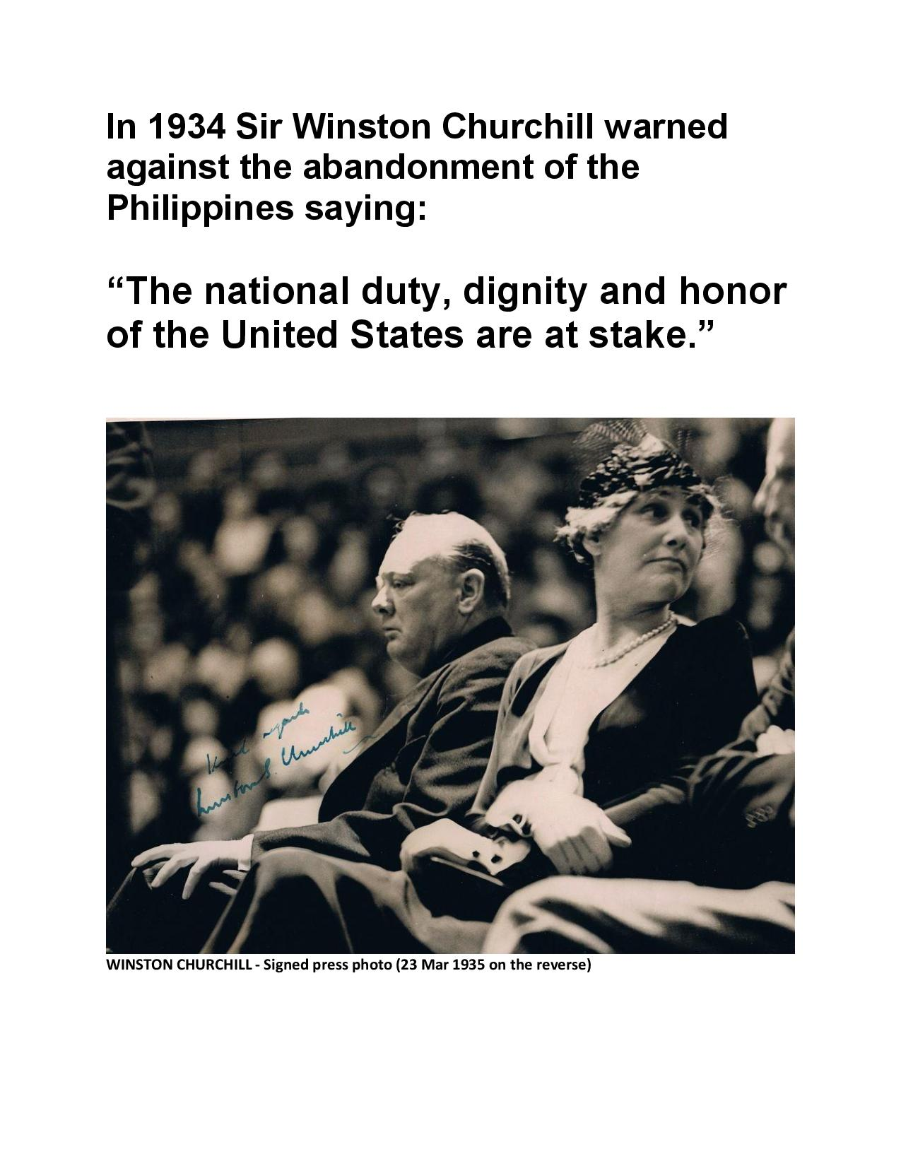 Churchill comment on the Abandonment of the Philippines in 1933 Photo-page-001