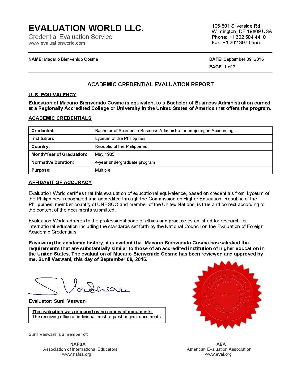 Credential Evaluation Report p1 - Lyceum Transcript of Records 09-10-16