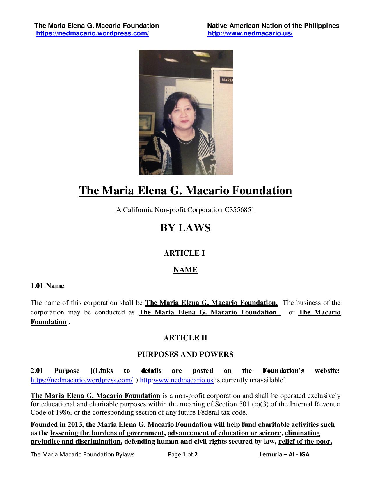 The Maria Macario Foundation Bylaws - 1st two pages - Macario Foundation v. 03-26-2017 p1