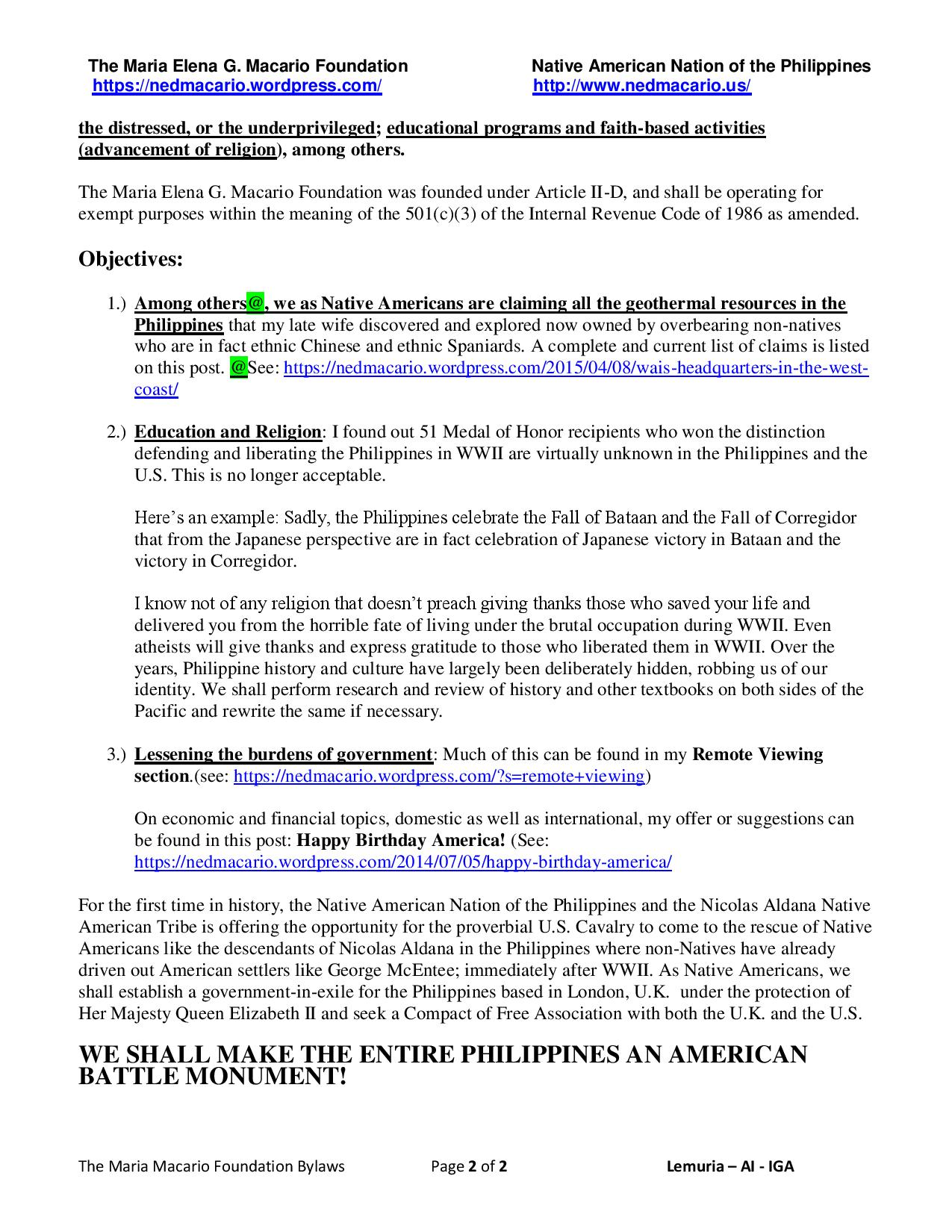 The Maria Macario Foundation Bylaws - 1st two pages - Macario Foundation v. 03-26-2017 p2