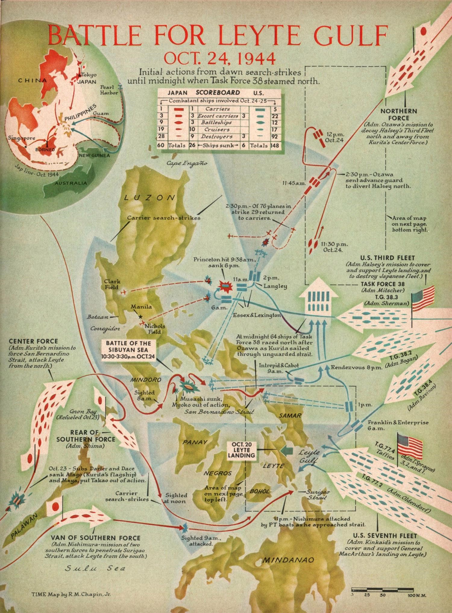 battle-for-leyte-gulf-oct-23-26-1944-vintage-map