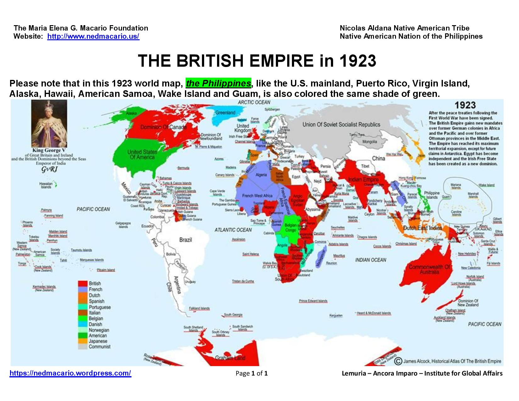 The world map and the british empire in 1923 lemuria map of the world and the british empire 1923 gumiabroncs Choice Image