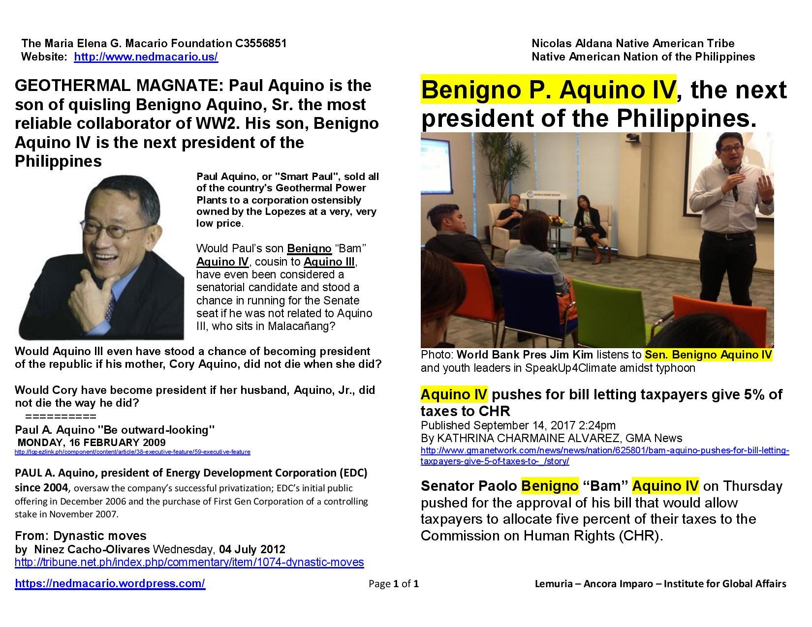 Paul Aquino-Geothermal magnate & son, future President Benigno Aquino IV 09-15-17