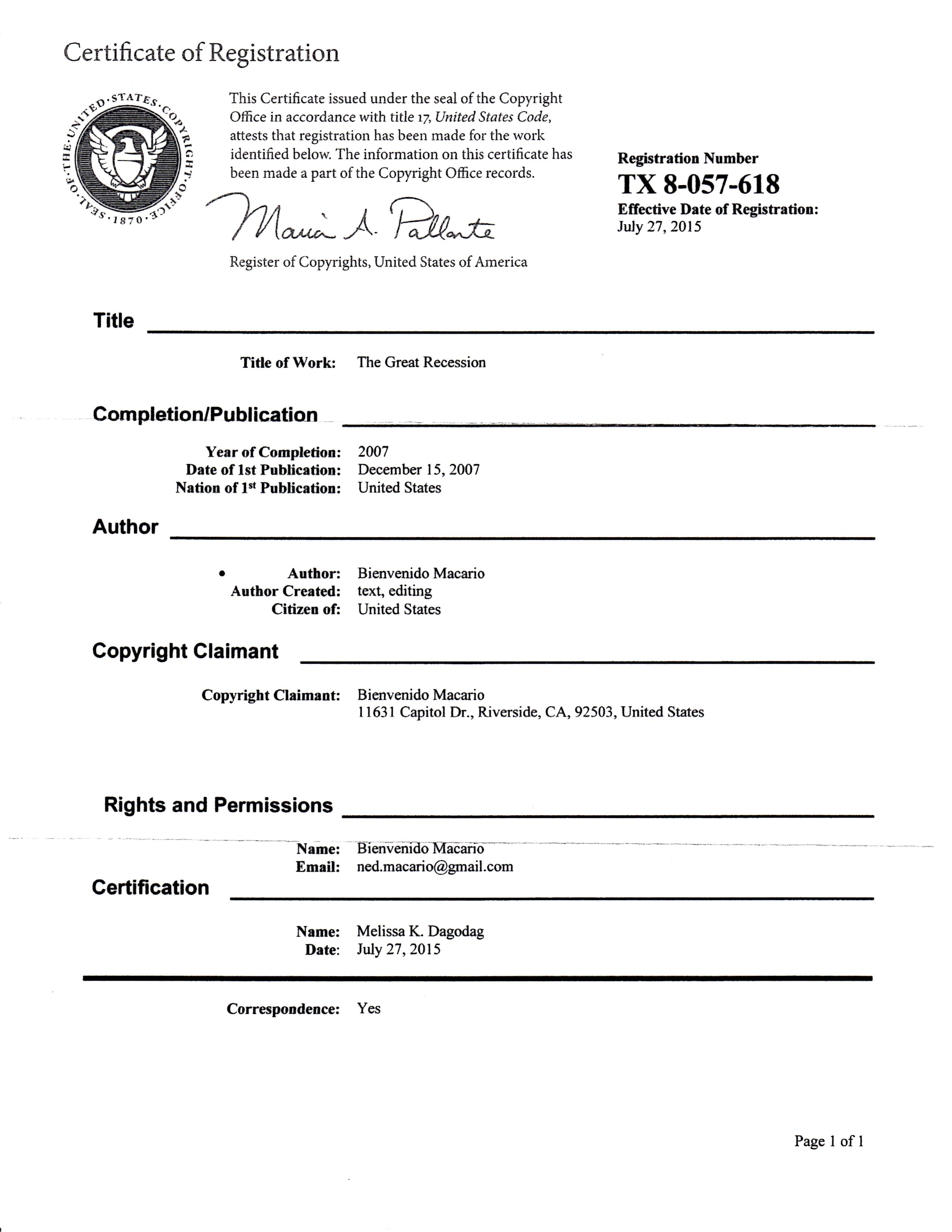 The Great Recession Copyright Certificate 12-15-07