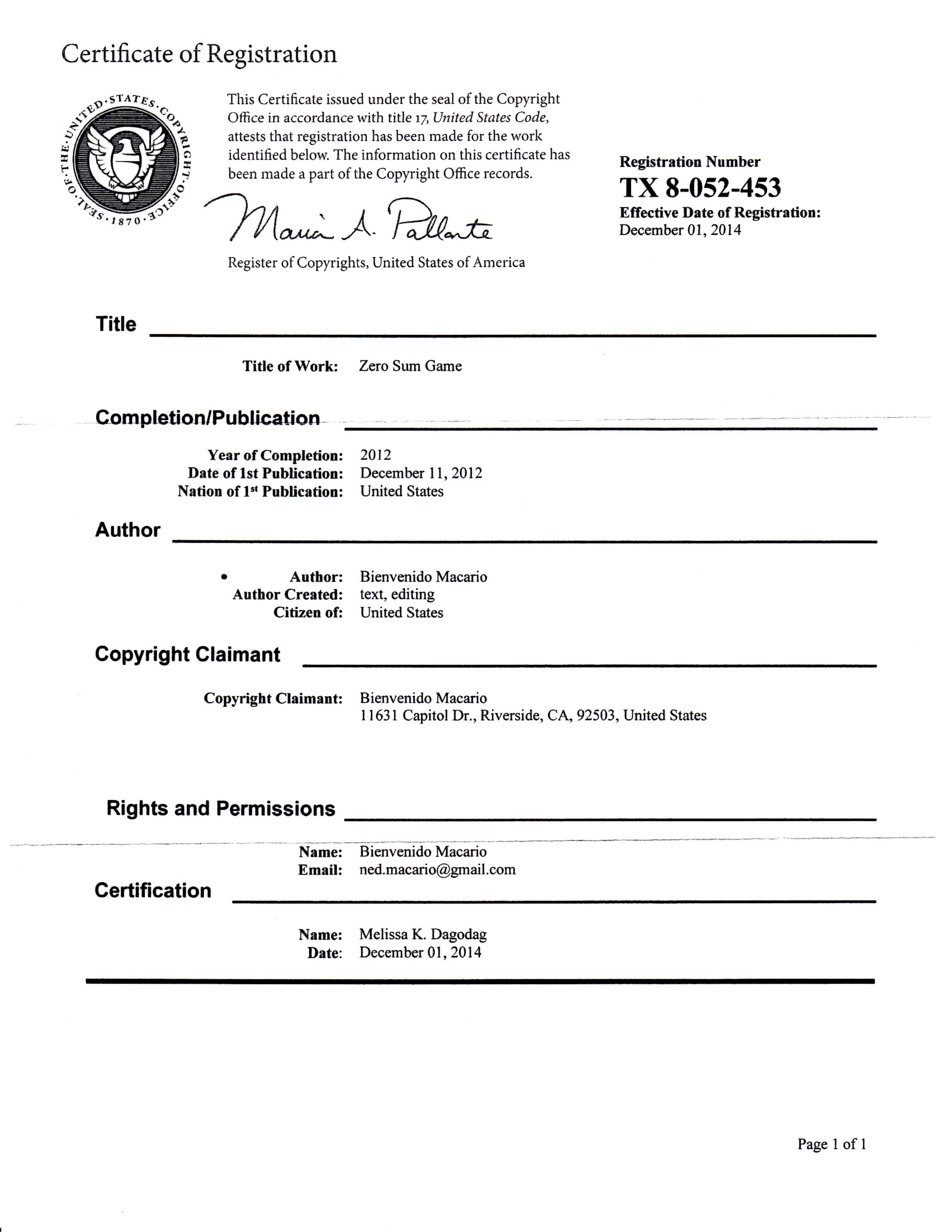 Zero Sum Game Copyright Certificate 12-11-12