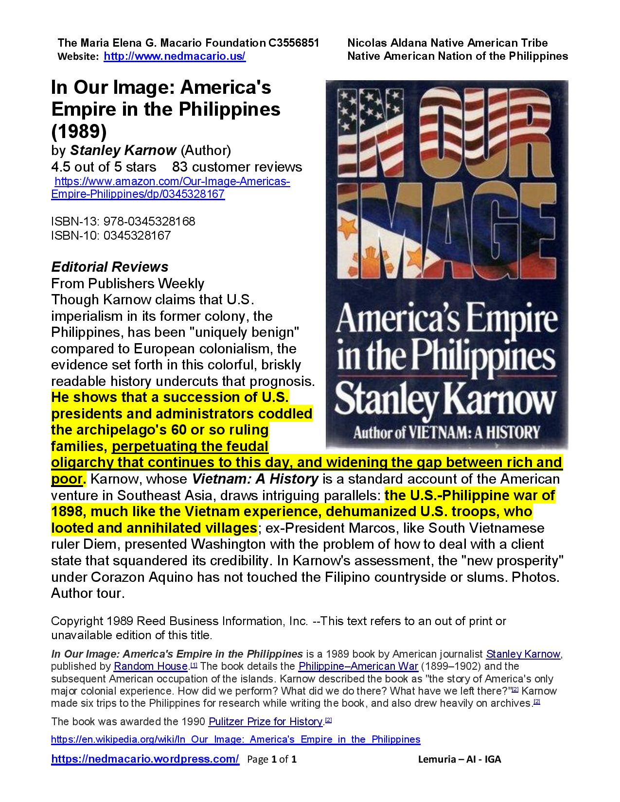 Book Review of S. Karnow's In Our Image - America s Empire in the Philippines (1989)