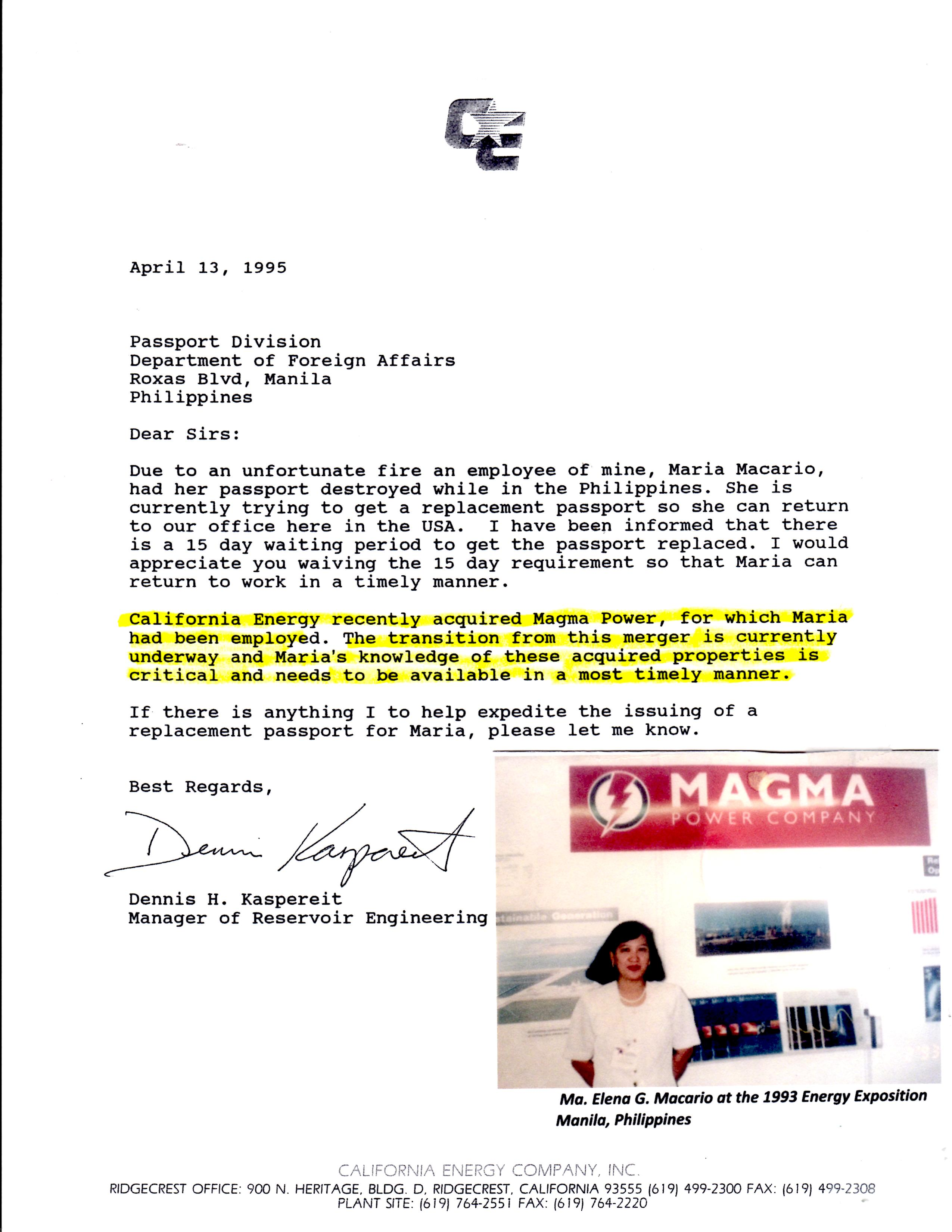 CalEnergy Letter to Phil. Dept. of Foreign Affairs signed by Dennis Kapereit Elena's Manager 04-13-1995